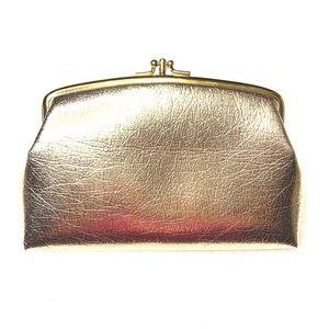 Vintage Gold Foil Kiss Lock Mini Clutch / Cosmetic